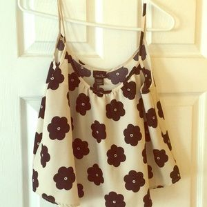 Rue 21 tan with black flowers crop top